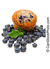 Blueberry Muffin - Fresh blueberries surround a single ...