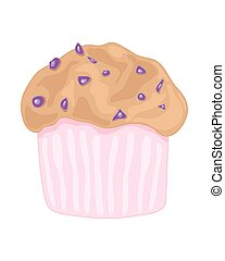 blueberry muffin - a vector illustration in eps 8 format of...