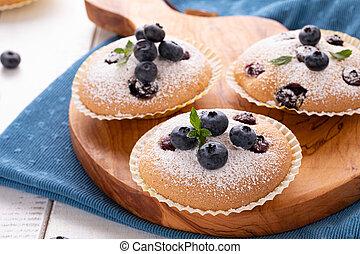 Blueberry muffins closeup