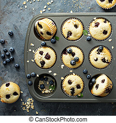 Blueberry muffins in a pan