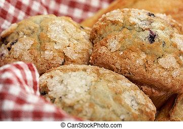 Blueberry Muffins in Basket