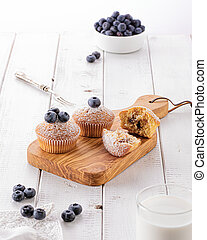 Blueberry muffins in the morning light