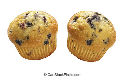 Blueberry Muffins isolated on a white background