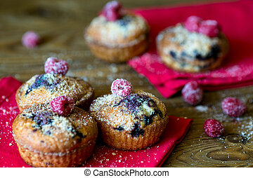 Blueberry muffins on the napkin