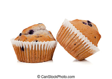 Blueberry muffins on a white background