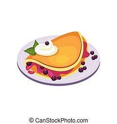 Blueberry Pancake Breakfast Food Element Isolated Icon....