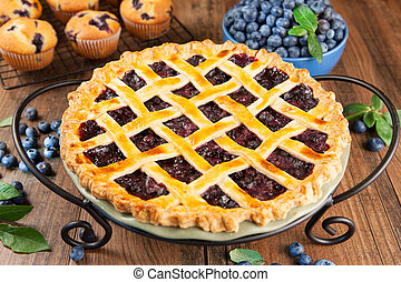 Blueberry pie - Close-up of a blueberry pie with lattice ...