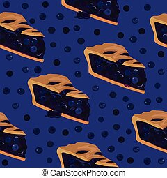 Blueberry pie seamless pattern