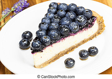 Blueberry pie. - Slice of cake with blueberries close up on ...