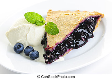 Blueberry pie slice - Slice of blueberry pie with vanilla...