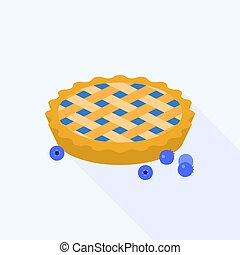 Blueberry pie with blueberries, flat design