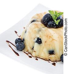 Blueberry Pudding isolated on white background