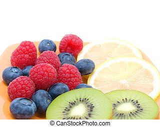 blueberry, raspberries, kiwi and lemon
