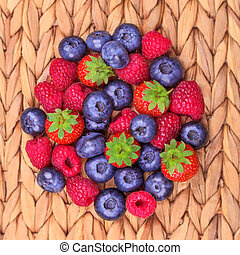 Blueberry, raspberry and strawberry close-up