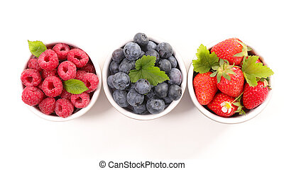blueberry, raspberry and strawberry on white background
