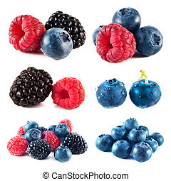 Blueberry, raspberry and blackberry collection isolated on white background (set).