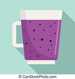 Blueberry smoothie icon, flat style