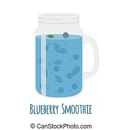 Blueberry smoothie in mason jar. Glass with vegetarian detox drink.