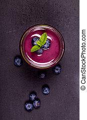 blueberry, smoothie, ind, en, glas krukke, hos, frisk,...