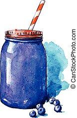 Blueberry smoothie. Mason jar.