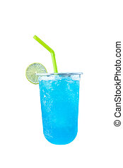 Blueberry soda sweet water Isolated on a white background