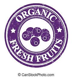 Blueberry stamp - Blueberry organic fruit grunge rubber...