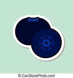Blueberry Sticker On Blue Background Colorful Fruit Icon