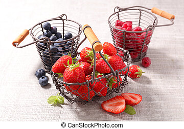 blueberry, strawberry and raspberry