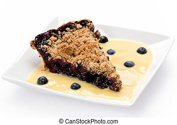 Blueberry Streusel Pie - Slice of blueberry streusel pie ...