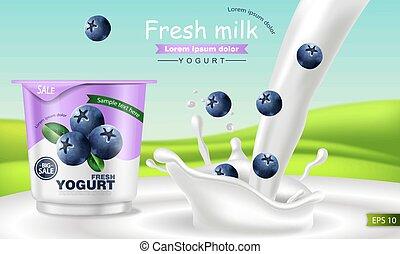 Blueberry yogurt Vector realistic. Product placement mock up. Fresh yogurt splash with fruits. Label design. 3d detailed illustrations