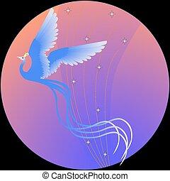 Bluebird - Blue bird in flight. Color vector illustration.