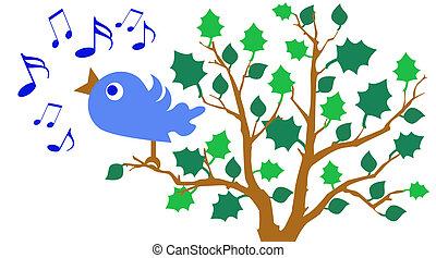 Bluebird of Happiness - illustration of bluebird singing in...