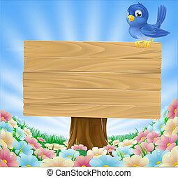 Cartoon blue bird sitting on a wooden sign board in a flower meadow