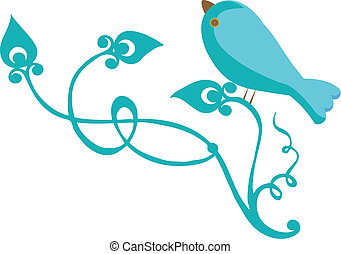 Bluebird with branch