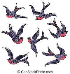 bluebirds., birds., komplet, miłość, powodzenie, symbol, ...