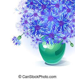 bluebottle bouquet in vase