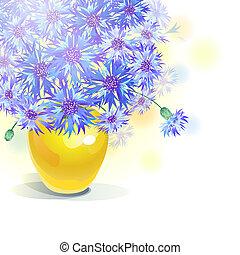 Bluebottle bouquet in yellow vase - vector