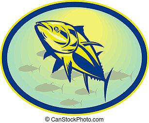 bluefin, thunfisch, angesehen, von, a, niedriger winkel,...