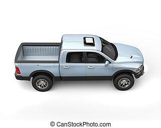 blueish, 銀, 現代, 積み込みの トラック, -, 上, 下方に, 光景