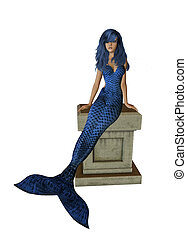BlueMermaid Sitting On A Pedestal - Blue mermaid sitting on...