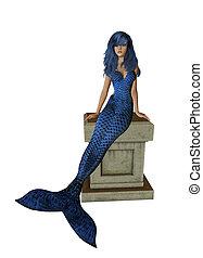 BlueMermaid Sitting On A Pedestal - Blue mermaid sitting on...