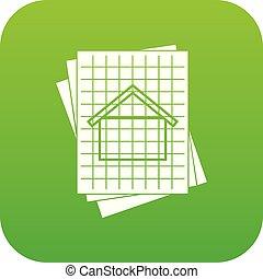 blueprint, ícone casa, verde, digital