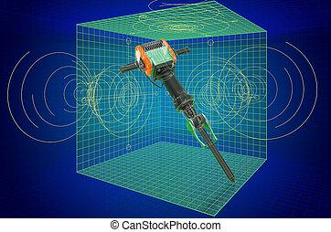 blueprint., 3d, modèle, marteau piqueur, visualisation, cao, rendre, marteau-piqueur