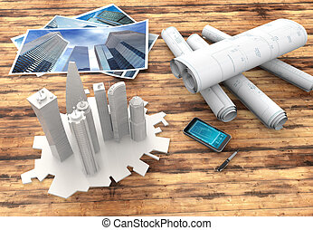 blueprint and 3d model of skyscrapers