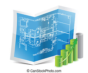 blueprint and graph illustration