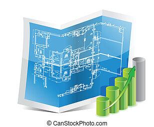blueprint and graph illustration