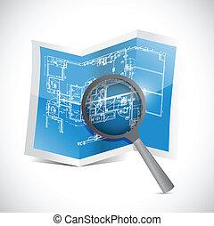 blueprint and magnify illustration design
