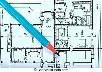 blueprint and pencil