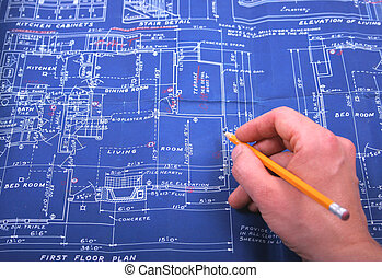 Blueprint with hand and pencil