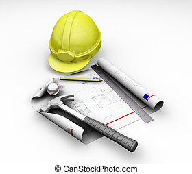 Blueprint and tools - 3D render of hard hat and blueprint on...